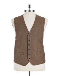 Black Brown Micro Houndstooth Vest Brown