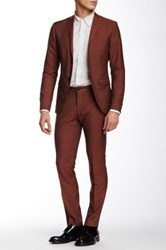 Tiger Of Sweden Jil Two Button Notch Lapel Wool Suit Red