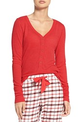 Make Model Women's Thermal Henley Top Red Pepper