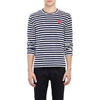 Comme Des Garcons Play Men's Striped Long Sleeve T Shirt Navy Blue Navy Blue