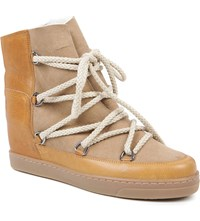 Isabel Marant Nowles Suede And Leather Shearling Lined Ankle Boots Camel