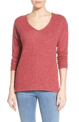 Women's Gibson 'Yummy Fleece' High Low V Neck Pullover Red Chateau