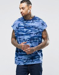 Asos Super Oversized Sleeveless T Shirt In Vintage Blue Camo Blue