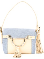 Borbonese Panelled Small Shoulder Bag Blue