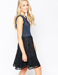 Closet Skater Dress With Lace Skirt Bluegrey
