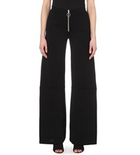 Off White Wide Leg Stretch Knit Trousers Black