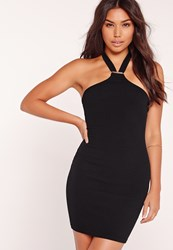 Missguided Halter Neck Bodycon Dress Black Black