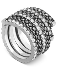 Genevieve And Grace Sterling Silver Ring Crystal 2 Ct. T.W. And Marcasite Swirl Band Ring