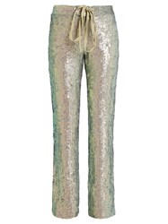Rosie Assoulin Slim Leg Sequin Embellished Trousers Metallic
