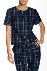Romeo And Juliet Couture Plaid Short Sleeve Shirt Blue