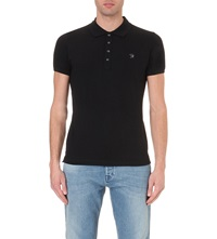 Diesel T Yahei Stretch Cotton Polo Shirt Black