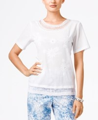 Alfred Dunner Petite Embroidered Mesh Trim Blouse White
