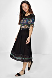 Boohoo Retro Print Midi Dress Black