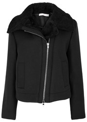 Vince Moto Black Shearling Trimmed Jacket