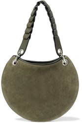 Emilio Pucci Leather And Suede Shoulder Bag Army Green
