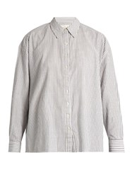 The Great Slouchy Striped Cotton Shirt Grey White