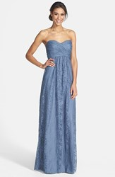 Amsale Women's Pleated Lace Sweetheart Strapless Gown Slate
