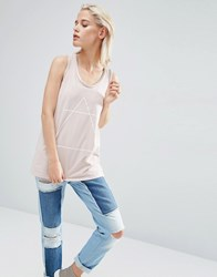 Asos Vest With Optic Tattoo Print And Drop Armhole In Wash Nude Pink