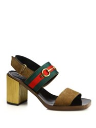 Gucci Querelle Suede And Wood Stripe Sandals