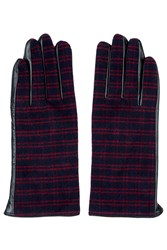 Check Leather Gloves Multi