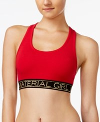 Material Girl Active Juniors' Racerback Sports Bra Only At Macy's Hot Chilli