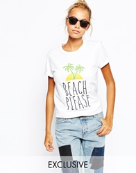 Adolescent Clothing Boyfriend T Shirt With Beach Please Holiday Print White