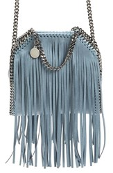 Stella Mccartney 'Tiny Falabella' Fringe Faux Leather Tote Blue Duck Blue
