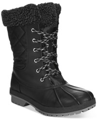 London Fog Women's Swanley Lace Up Cold Weather Boots Women's Shoes Black Black Quilted