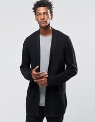 Asos Longline Open Cardigan With Shawl Neck Black
