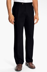 Men's Big And Tall Cutter And Buck Double Pleated Microfiber Pants Black