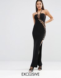 Club L Sexy Dare Maxi Dress With Lattice Detail Black