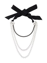 Lanvin Multi Strand Pearl Necklace White