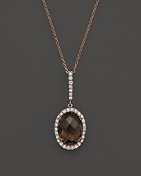 Bloomingdale's Smokey Topaz And Diamond Pendant Necklace In 14K Rose Gold 15.5 Brown Pink