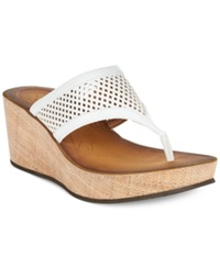 Clarks Collection Women's Avaleen Ocean Platform Wedge Thong Sandals Women's Shoes White