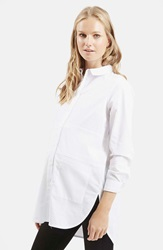 Topshop Oversize Button Front Maternity Shirt White