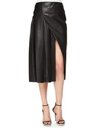 Prabal Gurung Faux Wrap Pleated Leather Midi Skirt Size 6 Navy