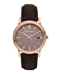 Burberry Sunray Brown Dial Check Watch With Leather Strap