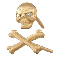 Social Anarchy Skull And Bone Earrings Yellow Gold And White Diamond