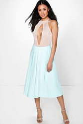 Boohoo Box Pleat Skater Skirt Mint