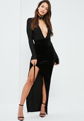 Missguided Black Lace Up Side Velvet Maxi Skirt