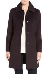 Kristen Blake Women's Wool Blend Walking Coat Eggplant