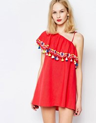 Piper Java One Shoulder Ruffle Dress With Tassels Coral
