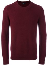 Rag And Bone Ribbed Crew Neck Jumper Red