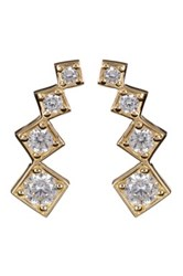 Candela 10K Yellow Gold Cz Climber Stud Earrings Gray