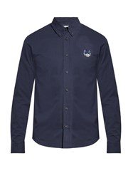 Kenzo Tiger Head Embroidered Cotton Shirt Navy