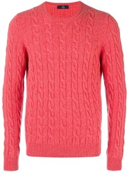Fay Cable Knit Jumper Pink Purple