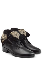 Etro Leather Ankle Boots With Embroidery Black