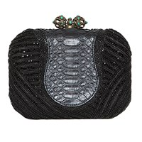 Khirma Eliazov Batasha Clutch Black Embroidery