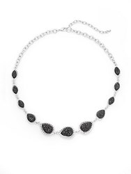 Carol Dauplaise Favalous Teardrop Choker Necklace Silver Black