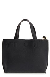 Street Level Reversible Faux Leather Crossbody Mini Tote And Wristlet Black